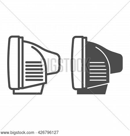 Tv Side View Line And Solid Icon, Monitors And Tv Concept, Cathode Ray Tube Side View Vector Sign On