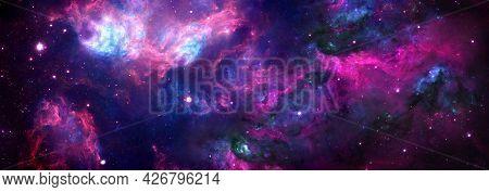 Cosmic Background Nebula With Stardust And Shining Stars.