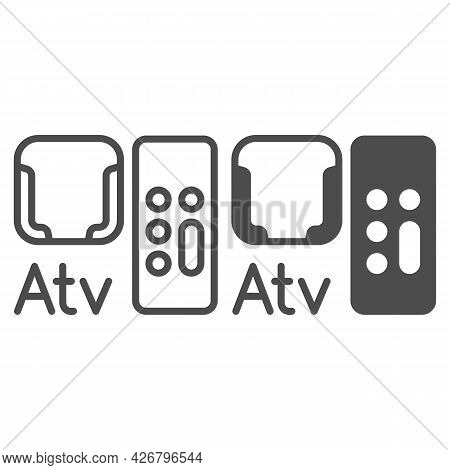 Apple Tv Mount And Remote Control Line And Solid Icon, Monitors And Tv Concept, Remout Holder Vector