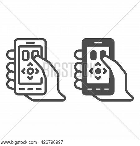 Smartphone As A Remote Control Line And Solid Icon, Tv And Monitors Concept, Phone As Remote Vector