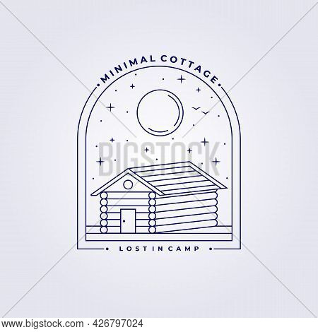 Line Cottage Cabin Lodge Logo Art Vector Illustration Design Simple Homestead Family Camp