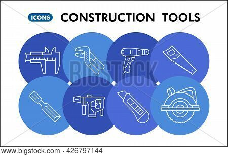 Modern Construction Tools Infographic Design Template. Building Inphographic Visualization With Eigh