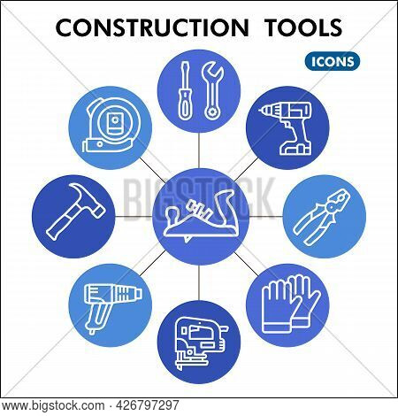 Modern Construction Tools Infographic Design Template. Building Inphographic Visualization With Nine