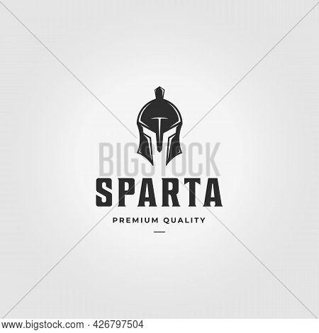 Minimal Armour Of Sparta Logo Vector Vintage Illustration Design