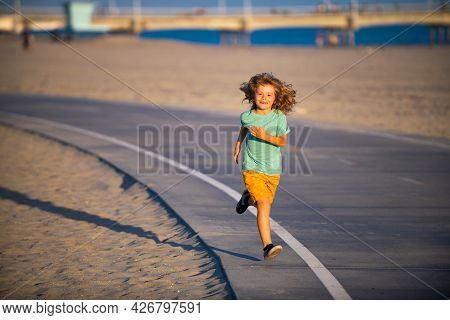 Cheerful Child Boy Running To School. Kids Run Race.