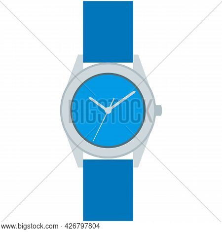 Wristwatch Vector Icon, Hand Clock Isolated On White