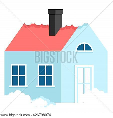 House In Snow And Drifts In Winter. Vector Illustration