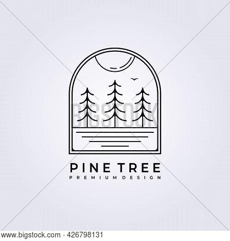 Sunset Forest Pine Tree Logo Vector Illustration Design Line Art Simple Badge Landscape Lake Forest