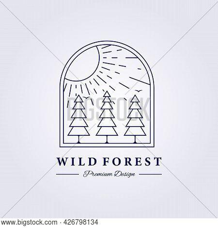 Sunburst Pine Tree Forest Logo Vector Illustration Design Badge Emblem Simple Isolated Icon Logo Lab