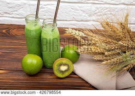 Morning Breakfast For Vegan. Refreshing Summer Green Smoothie Or Milkshake. Vegetarian Healthy Green