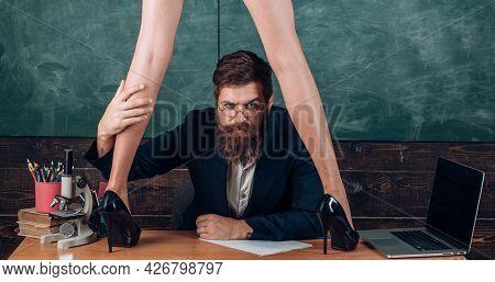 Sexy Student School Girl With Short School Girl Skirt Seduction Surprised Teacher In Classroom. Stud