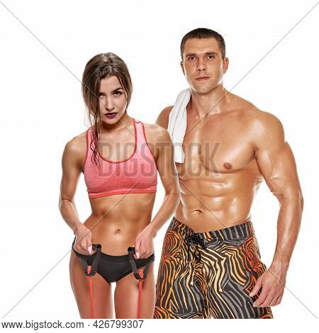 Young Couple In Sportswear Posing After Exercise Isolated On White Background, People Who Love Sport