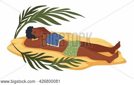 Man Lying On Beach, Tired Napping Male With Book