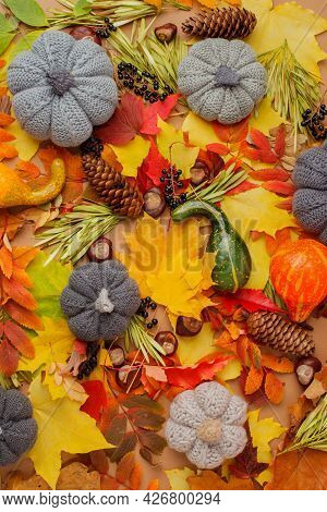 Red And Orange Autumn Leaves Background, Bright Copy Space, Seasonal Foliage Concept, Organic Patter