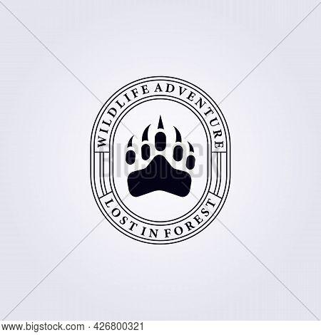 Badge Predator Bear Footprint Logo Vector Illustration Design