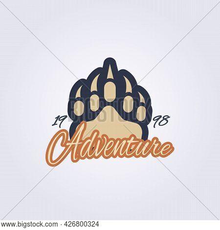 Apparel Predator Footprint Logo Vector Illustration Design Vintage Bear , Lion, Tiger, Panda