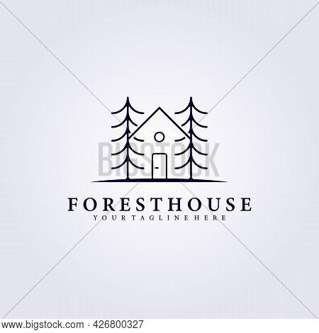 Cabin Cottage Tree House Cafe Logo Vector Illustration Design Line Art Simple Countryside Cafe Resor