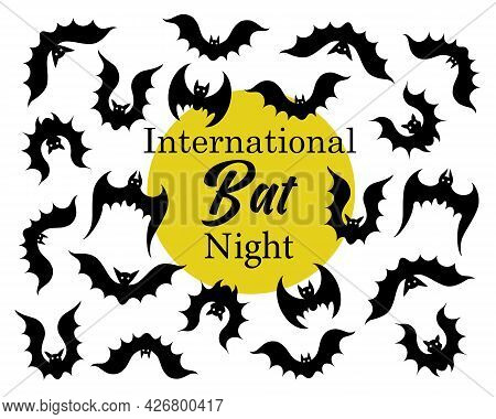 International Bat Night. A Flock Of Bats In Various Poses. Flying Vampires Against The Background Of