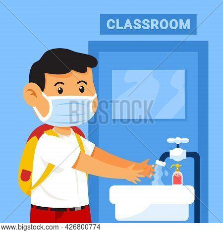 Wear Mask And Washing Hands Before Entering The Classroom To Prevent The Flu Infection.