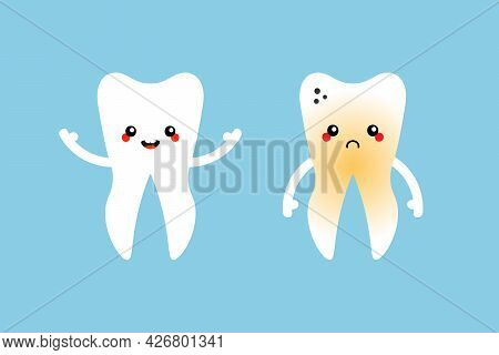 Cute Cartoon Style Tooth Characters, Healthy Smiling And Sad Plaque Tooth For Dental Care Service De