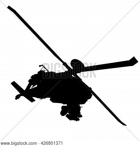 Combat Helicopter Silhouette Isolated On White Background. Vector Illustration