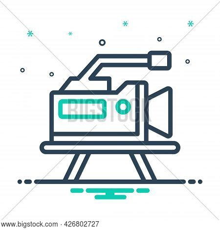 Mix Icon For Production Video-marketing Projector Filmstrip Broadcasting Promotion Multimedia Publis