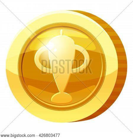 Gold Medal Coin Goblet Symbol. Golden Token For Games, User Interface Asset Element. Vector Illustra