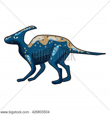 Funny Prehistoric Hadrosaurs Dinosaurus. Ancient Wild Monsters Reptiles Cartoon Style. Vector Isolat