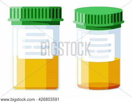 Urine Test Tube Isolated On White. Medical Sample In Glass Tube. Laboratory Container With Urine. Sp