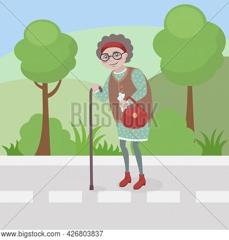 Old Woman Walking On The Road Along The Park