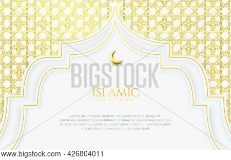 Islamic Elegant White And Golden Luxury Background With Islamic Pattern And Decorative Crescent Moon
