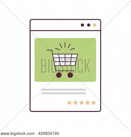 Trolley Cart In Web Browser Window E-commerce Smart Purchasing Online Shopping Concept