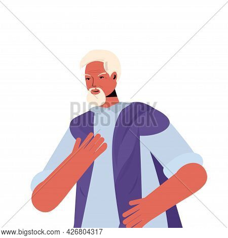 Old Man In Casual Trendy Clothes Senior Male Cartoon Character Gray Haired Grandfather Portrait