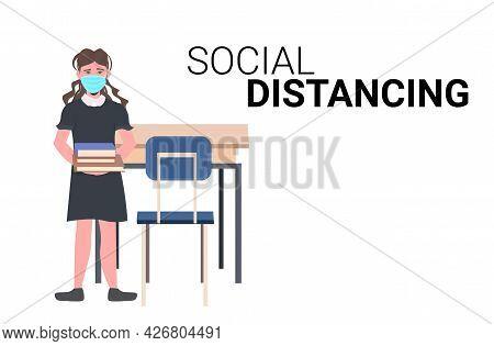 Schoolgirl Wearing Face Mask To Prevent Coronavirus Pandemic Social Distancing Covid-19 Quarantine