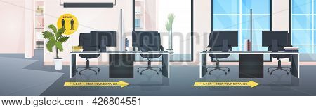 Workplace Desks With Signs For Social Distancing Yellow Stickers Coronavirus Epidemic Protection Mea