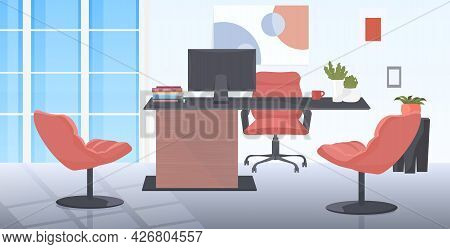 Office Workplace Desk Social Distancing Coronavirus Epidemic Protection Self Isolation Concept