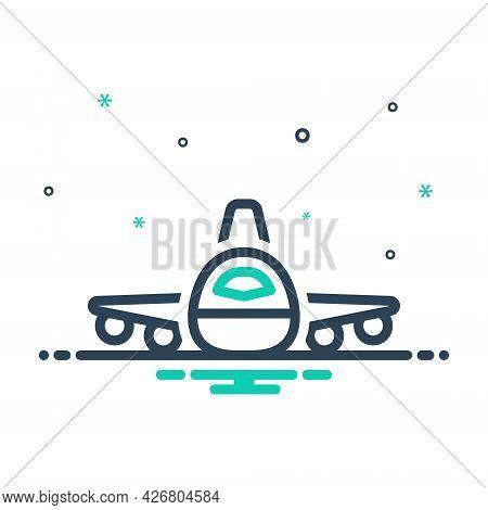 Mix Icon For Flight Plan Aeroplane Flying Aircraft Airline Passenger Travel Transport Transportation