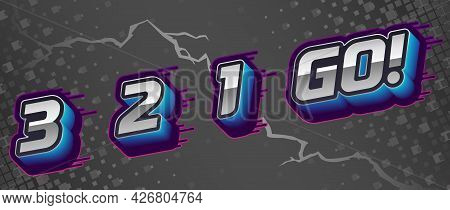 3 2 1 Go Dynamic Letters. Graphic For Video Intro, Sports Match, Versus, Race, Mma, Cybersport. Pres