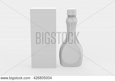 Glossy Plastic Syrup Bottle Mockup Isolated On White Background. 3d Illustration