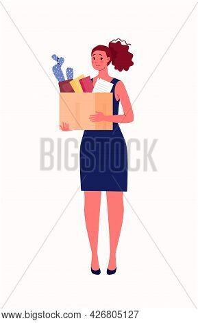 Layoff, Unemployment, Job Cuts Concept. A Young Sad Woman Is Holding A Box Of Things In Her Hands. V