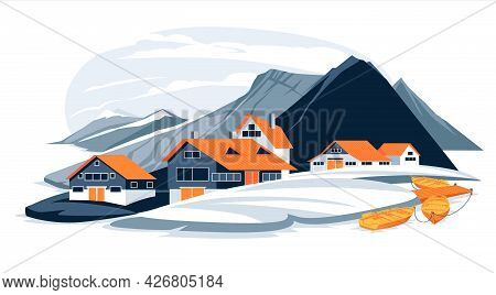 Flat Nordic Mountains And Sea Coast Fishing Village Landscape Illustration. Cartoon Colorful Cold Pa