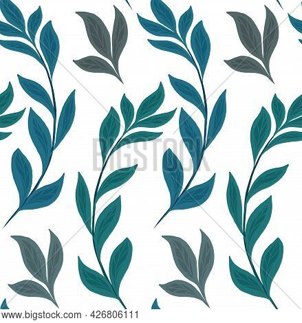 Seamless Natural Pattern With Basil Branches On A White Background. Texture With Hand Drawn Flat Her