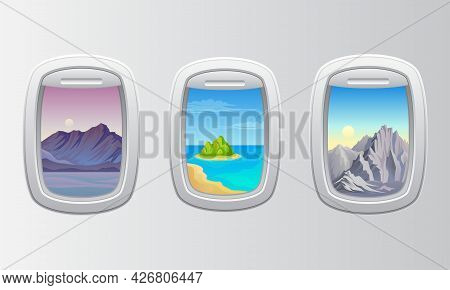 Rounded Airplane Window With Picturesque View Vector Set