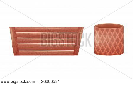 Shaped Ceramic Or Clay Empty Pot And Wooden Crate For Decorative Flowers Vector Set