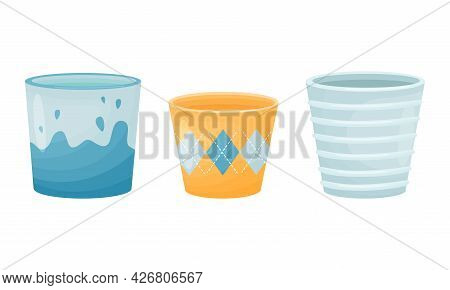 Shaped Ceramic Or Clay Empty Pot For Decorative Flowers Vector Set