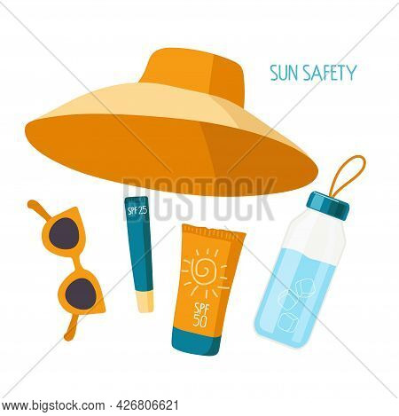 Sun Safety. Things Necessary On Beach For Health. Sunscreen Cosmetics, Water Bottle, Sunglasses, Hat