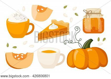 Pumpkin Seasonal Flavored Products. Pumpkin, Pie, Jam, Latte. Food And Drinks Isolated. Autumn Delic