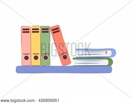 Simple Wall Shelf With Colorful Folders And Books Isolated On White Background. Vector Illustration