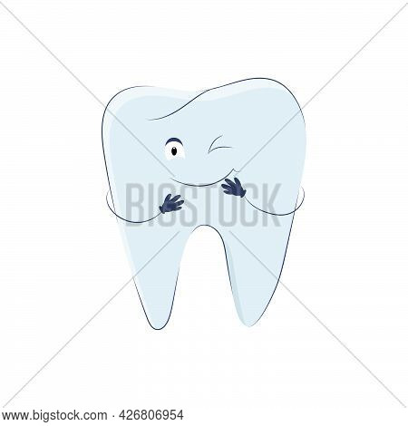 Cute Winking Tooth In Cartoon Style Isolated On White Background. Vector Molar Icon With Eyes, Mouth