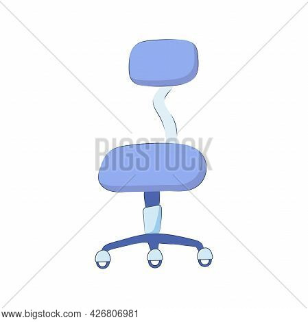 Work Chair With Backrest On Castors Isolated On White Background. Business Chair Icon On Wheels, Vec